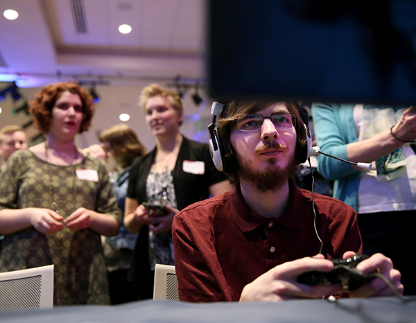 A UW-Stout student plays a video game at a recent Stout Game Expo.