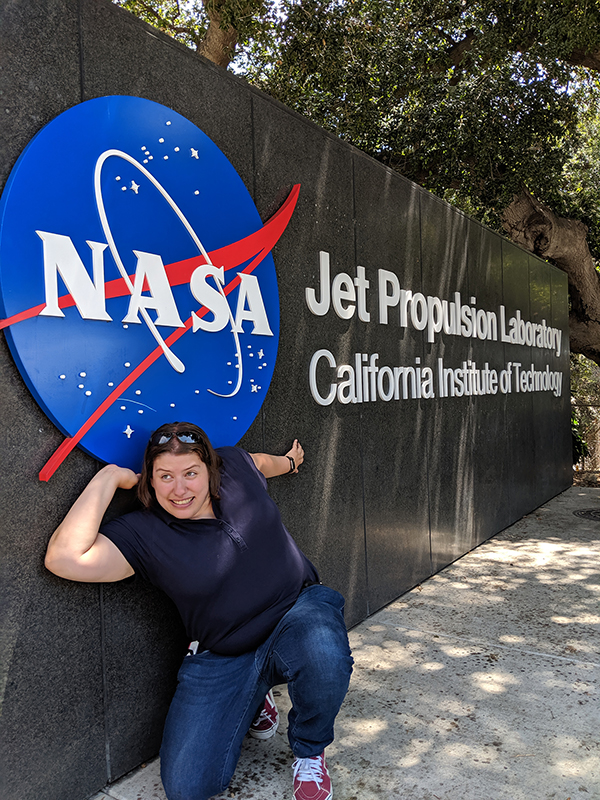 UW-Stout's Sophie Gelhar enjoys a visit to NASA's Jet Propulsion Laboratory in California during her NASA summer internship at Ames Research Center in Mountain View, Calif.