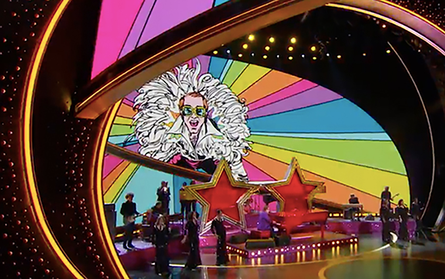 Alumna Erin Goedtel's artwork of Elton John appeared during his performance of his Oscar-winning song.