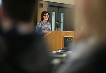 Select Comfort CEO Shelly Ibach speaks during the Cabot Executive in Residence program at UW-Stout.