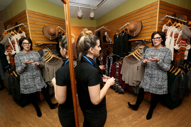 Shelly Ibach talks with student and Niche employee Tayler Mueller. Ibach worked at the student-run retail store when she was a student at UW-Stout.