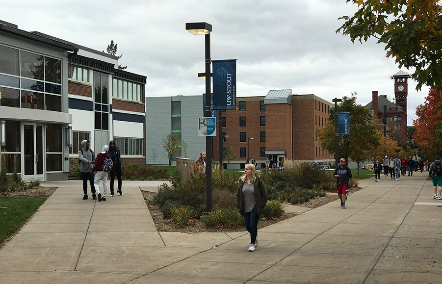 Merle M. Price Commons, left, and North Hall, center, reopened this fall after renovations.