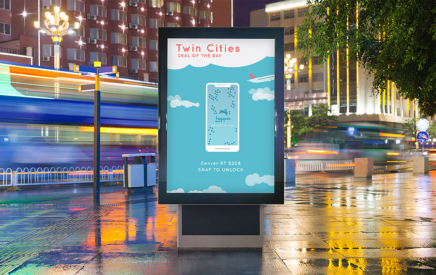 Willaby's contest entry was a proposed advertising campaign for the travel app Hopper. The campaign included a variety of platforms, including an interactive digital board, social media posts and a billboard.