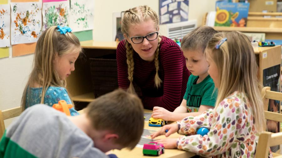 Leaha Diekman is photographed working in the Child & Family Study Center